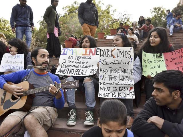 JNU students protest against the arrest of students at the JNU campus on Tuesday.