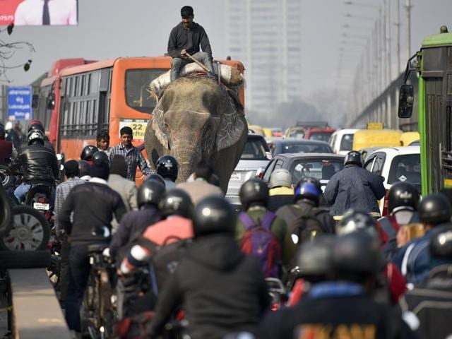 A mahout an elephant rider make his way from the wrong side of the road at Vikas Marg ITO causing problem for the commuters and traffic jam in New Delhi.