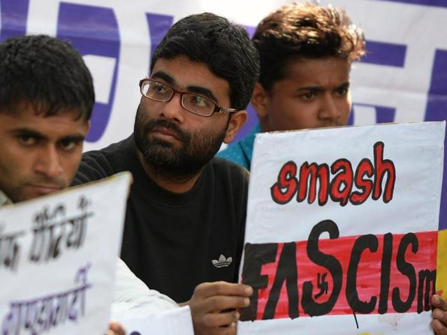 """Many students believe the arrest  of JNUSU president Kanhaiya Kumar is a """"direct assault on their right to dissent""""."""