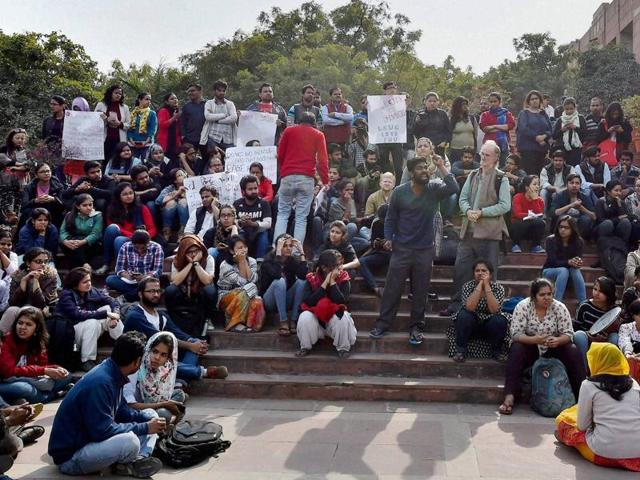 Students, teachers and intellectuals protest against police crackdown after recent allegations of anti-national activities in JNU .