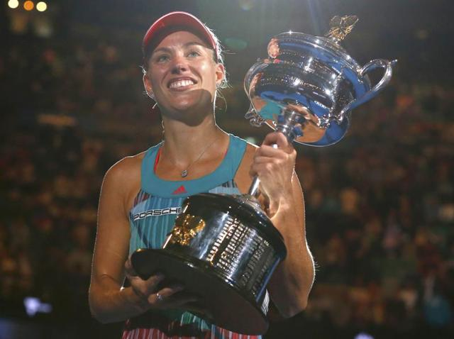 Angelique Kerber chose not to carry the heavy Daphne Akhurst Memorial Trophy in her hand baggage on the flight back to Germany.