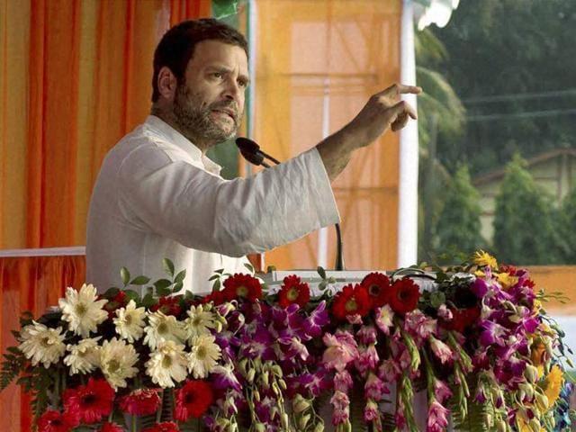 Congress vice-president Rahul Gandhi addresses Jana Jagaran Samaroh in Titabar, Jorhat on Monday.
