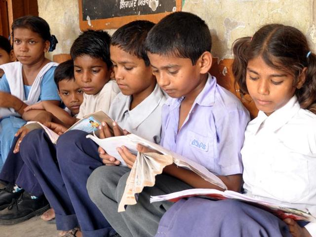 Students at a government elementary school in Patiala.