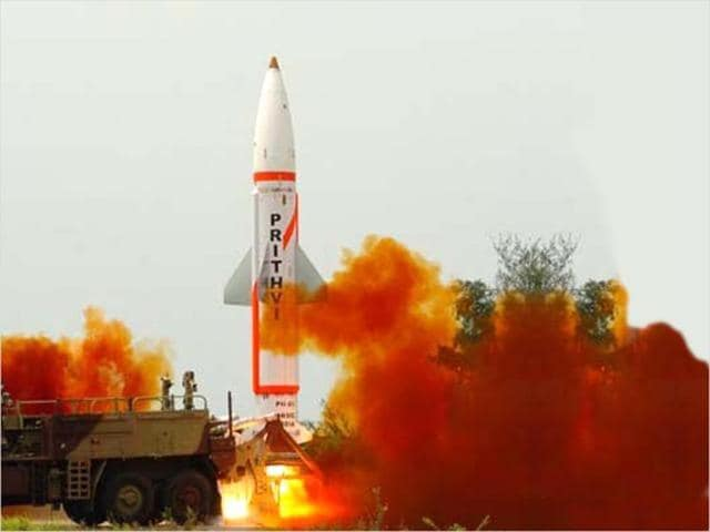 File photo of nuclear-capable Prithvi II missile, apable of carrying 500kg -1000kg of warheads.