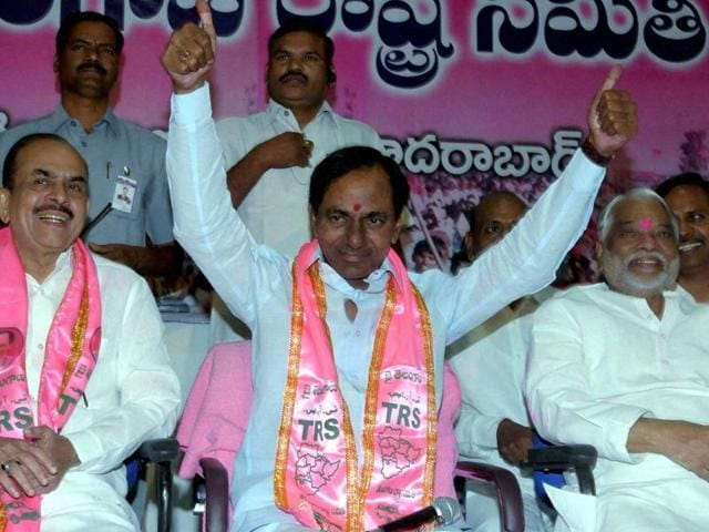 Telangana chief minister and TRS leader K Chandrasekhar Rao addressing media in Hyderabad. Bhupal Reddy took an early lead over Congress' Sanjeeva Reddyin the Narayankhed by poll.