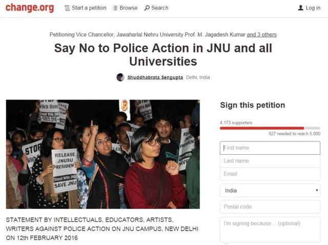 Change.org has seen multiple petitions both supporting and condemning what happened on the JNU campus.