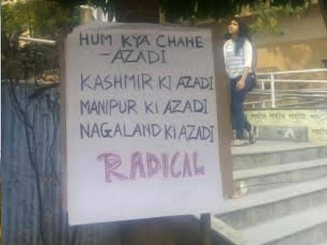 A poster in Jadavpur University campus calls for freedom of Kashmir, Nagaland and Manipur.