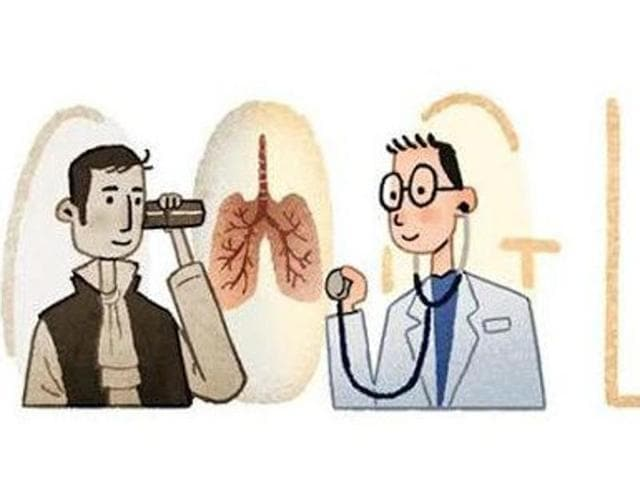 Google pays hommage to stethoscope inventor celebrating his 235th birthday with a doodle