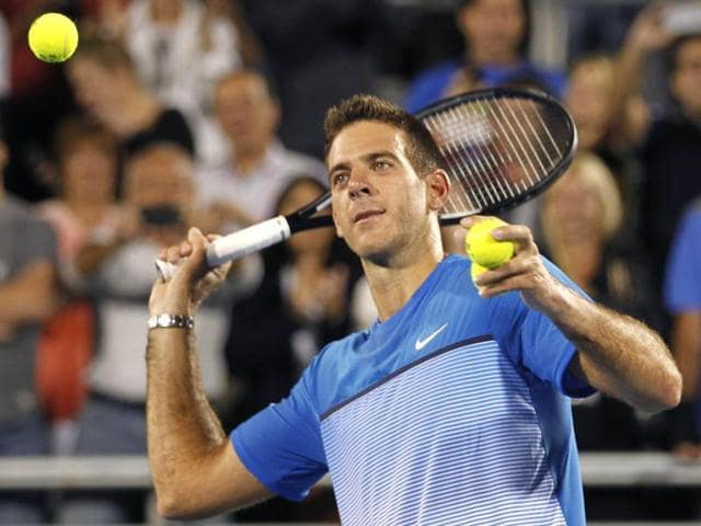 Argentina's Juan Martin del Potro celebrates after defeating the US' Denis Kudla in their match at the Delray Beach Open in Delray Beach, Florida, on February 16, 2016.