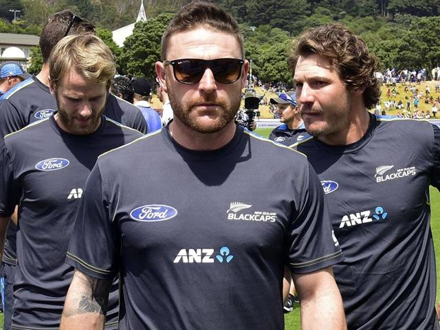 New Zealand's Brendon McCullum take a moment against Australia at Basin Reserve in Wellington.