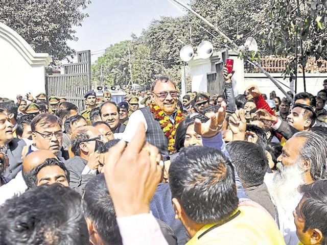 BJP's Ashu Verma with his supporters after he was declared winner of Ghaziabad's mayoral by-elections on Tuesday.