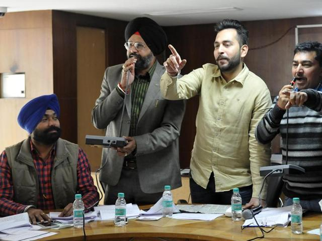 SAD-BJP councillors during the House meet on Tuesday..