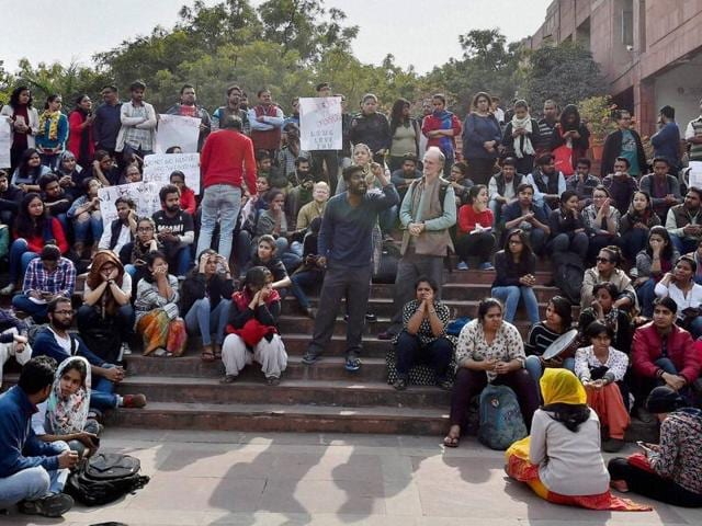 JNU students protest inside the university campus.