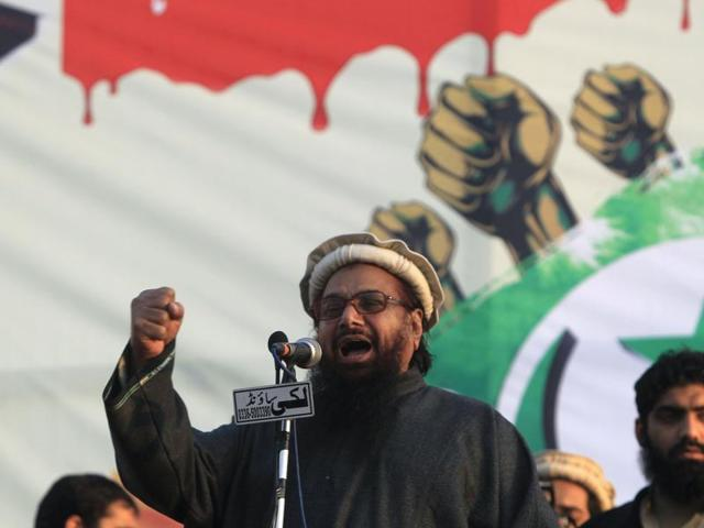Hafiz Saeed, chief of the Jamat-ud-Dawa, speaks to his supporters during a rally to mark Kashmir Solidarity Day in Islamabad, Pakistan.