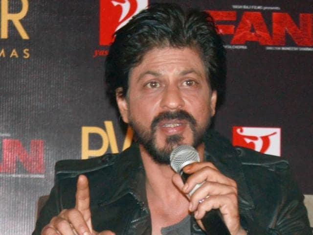 Shah Rukh Khan speaks at the song launch of Fan in New Delhi on Feb 16.