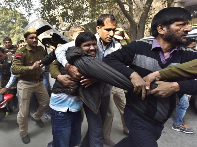 JNU student union president Kanhaiya Kumar being taken to Patiala House court in New Delhi.