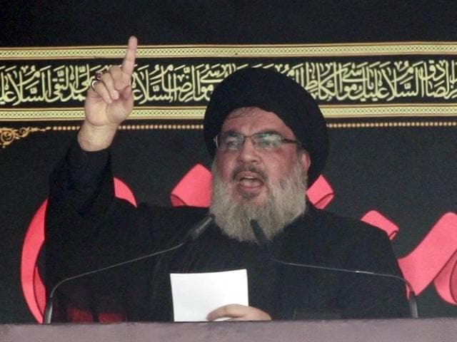 Lebanon's Hezbollah leader Sayyed Hassan Nasrallah addresses his supporters during a public appearance at a religious procession to mark Ashura in Beirut.