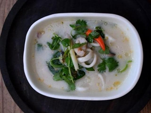 Paleo coconut and seafood broth by Chef Glyston Gracias, chef manager, Smoke House Deli.