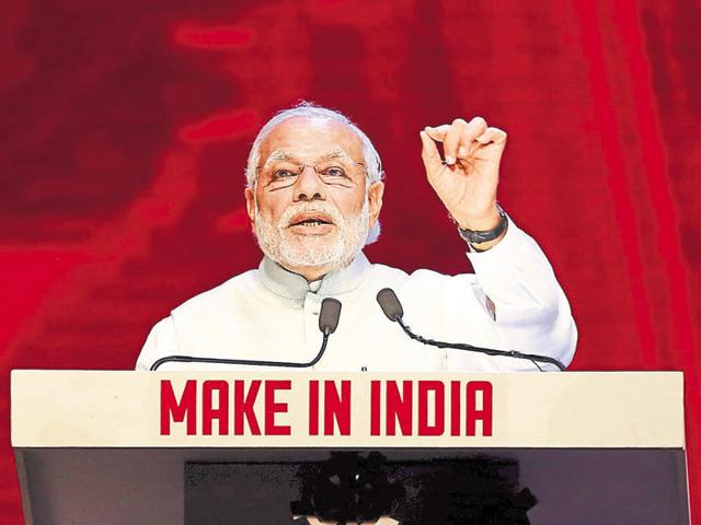 Prime Minister Narendra Modi speaks during the inauguration ceremony of the 'Make In India' week in Mumbai.