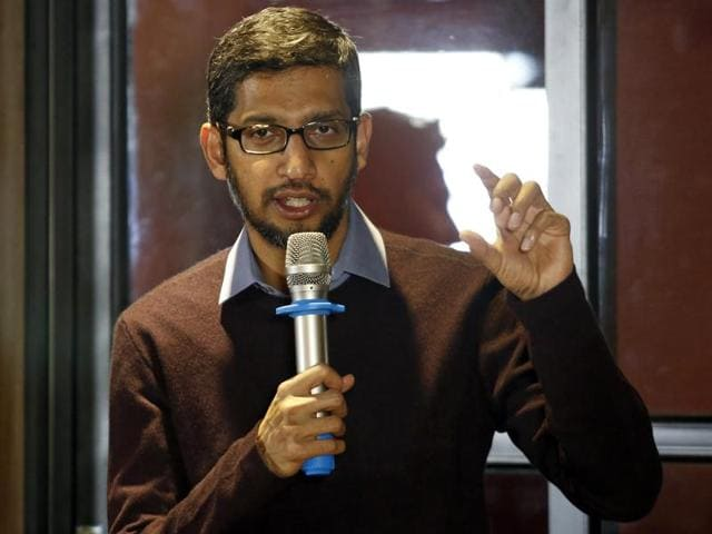 Google CEO Sundar Pichai gestures as he addresses a conference with Vietnamese IT community in Hanoi, Vietnam December 22, 2015. REUTERS/Kham
