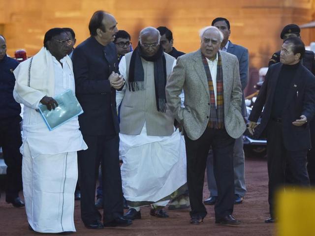 Congress senior leader Gulam Nabi Azad , Kapil Sibal , Mallikarjun Kharge , Arunachal Pradesh chief minister Nabam Tuki after meeting with President Pranab Mukherjee.