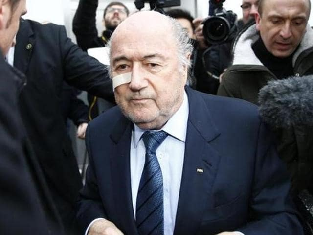 Fifa's suspended president Sepp Blatter holds a news conference in Zurich.