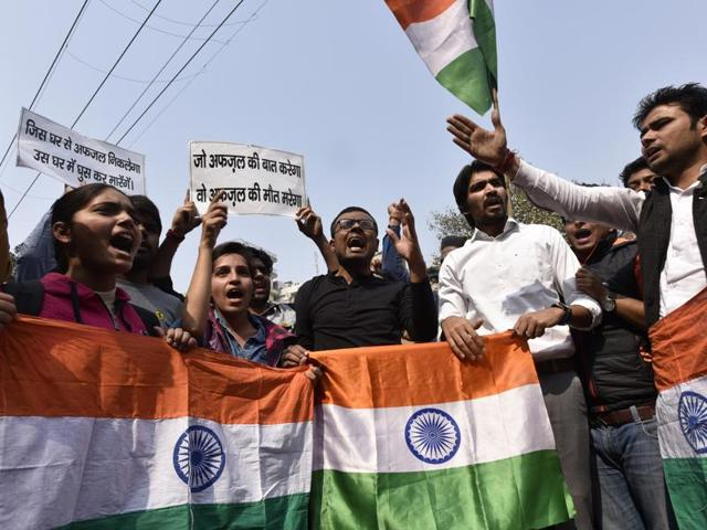 As per reports, ABVP members organised 'Nation First' march at the gate of Deen Dayal Upadhyay University, Gorakhpur, as part of its nationwide protest against anti-India sloganeering on Jawaharlal Nehru University campus recently.