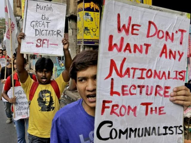 Student activists in Assam take out a procession in solidarity with the agitating JNU students in Guwahati on Thursday.