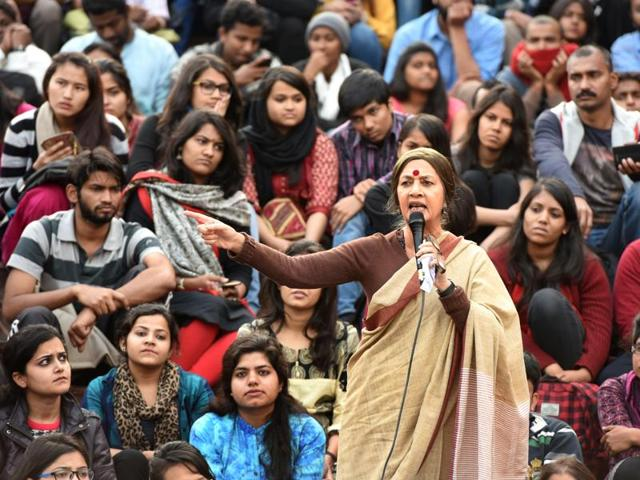 The JNU students protesting against the arrest of their president Kanahiya Kumar at JNU Campus in New Delhi, India, on Wednesday