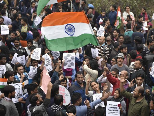 An estimated 5,000 students chanting 'release Kanhaiya Kumar' and 'down with state terrorism' marched through the heart of Delhi on Thursday evening.