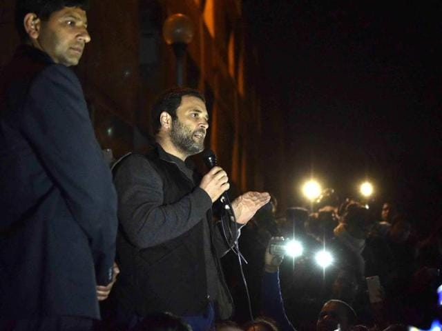 Congress Vice President Rahul Gandhi addressing the protesting students at the Jawaharlal Nehru University, in New Delhi on Saturday, February 13, 2016.