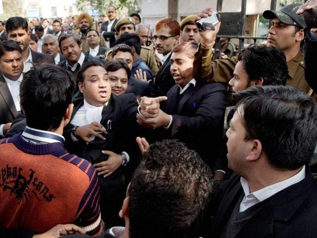 Lawyers clash at Patiala House court where JNUSU president Kanhaiya Kumar was produced in New Delhi.