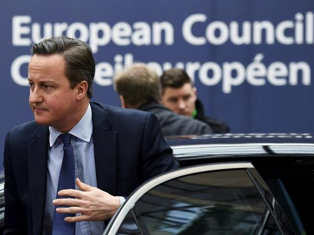 British Prime Minister David Cameron arrives for a European Union leaders summit addressing the talks about the so-called Brexit.