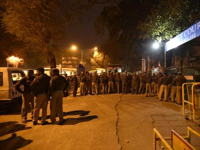 Heavy presence of Delhi Police personnel outside the Patiala House court on Wednesday.