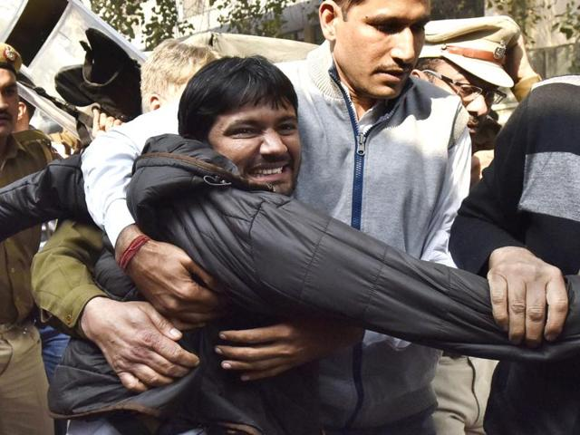 Students affiliated to ABVP clash with those from Delhi University protesting JNU students' union president Kanhaiya Kumar's arrest at Arts Faculty in North Campus in New Delhi.