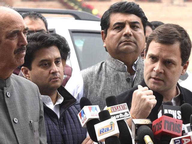 Congress vice-president Rahul Gandhi along with senior party leaders talking to the media outside Rashtrapati Bhawan after a meeting with President Pranab Mukherjee.