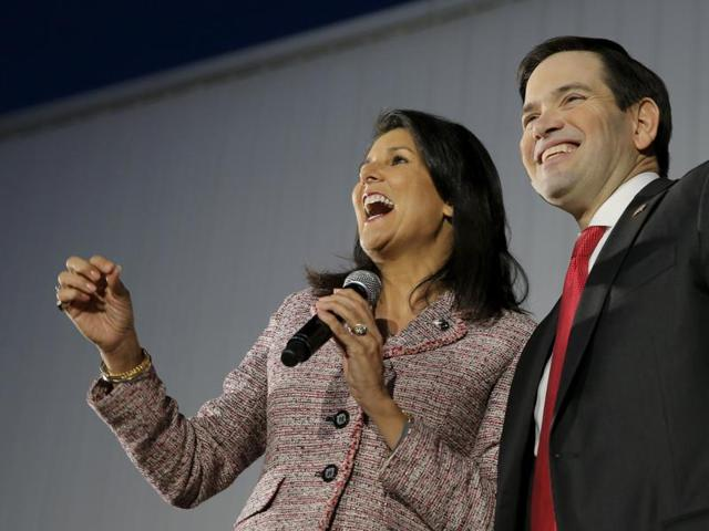 Republican presidential candidate Marco Rubio appears with South Carolina Gov. Nikki Haley at an event February 17, 2016 in Chapin, South Carolina. Haley endorsed Rubio in the state's upcoming primary.