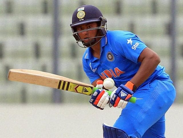 Indian cricketer Sarfaraz Khan plays a shot during the under-19s World Cup cricket final.