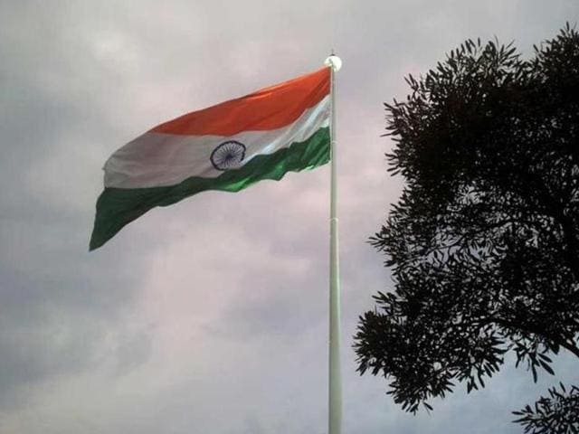 India's flag seen hoisted at Central Park in Connaught Place, New Delhi.
