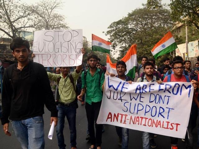 ABVP supporters took out a rally towards JU chanting nationalistic slogans and waving national flags.