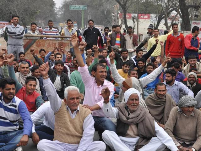 "The protesters have accused the chief minister of resisting their demand as he was ""not from the community"". (HT Photo )"