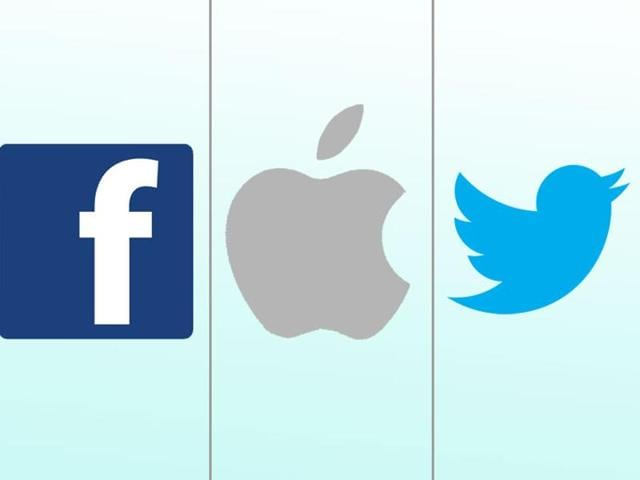 Combination picture of logos of Facebook, Apple Inc and Twitter.