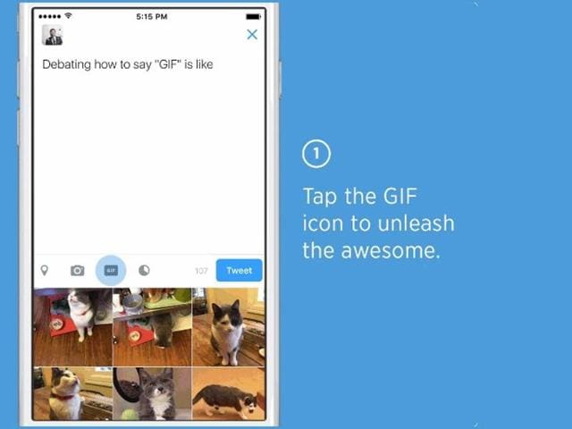Twitter introduction of a search function for GIFs (moving images) commonly used on social media prompted users of the website on Wednesday to tweet their own pictures expressing enthusiasm over the feature