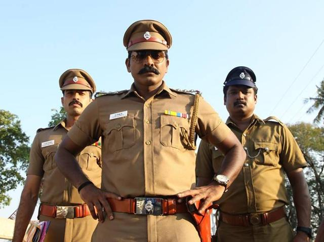 Vijay Sethupathi plays a tough cop, a role he has played so many times before.