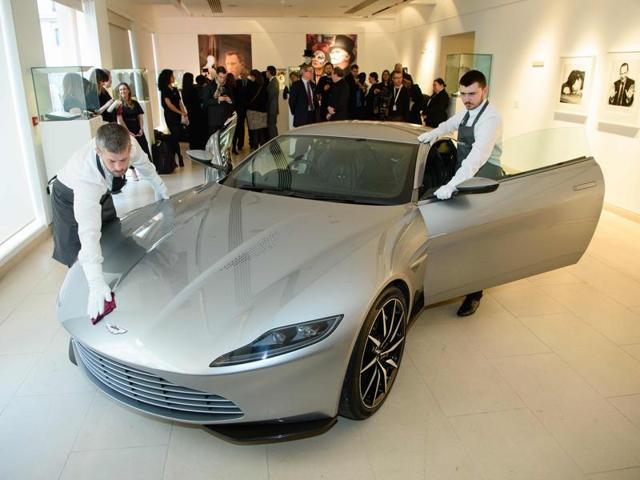 An Aston Martin DB10 car used in the James Bond film Spectre is shown during a press preview in London.