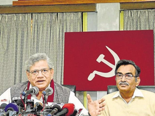 CPI(M) General Secretary Sitaram Yechury along with party leader Suryakanta Mishra. The CPI (M) announced an unprecedented pact with the Congress party for the upcoming WB elections.
