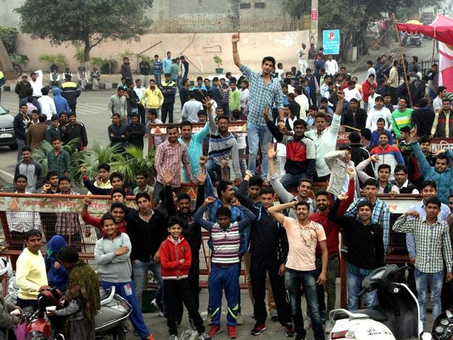 Jat students block the Rohtak-Delhi road in Rohtak as part of the quota agitation.