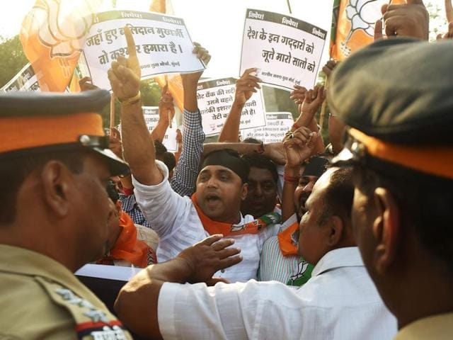 Activists from Bharatiya Janata Party (BJP) shout slogans during a protest against the Jawaharlal Nehru University Students Union (JNUSU) in Mumbai.