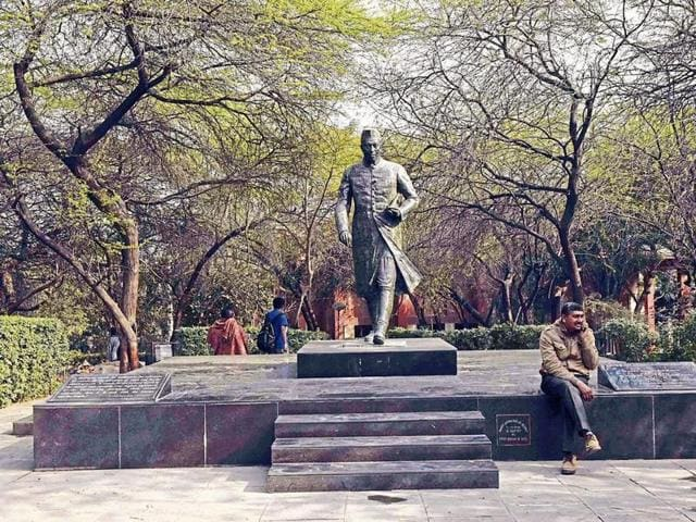A sculpture of Jawaharlal Nehru at JNU campus, in New Delhi.