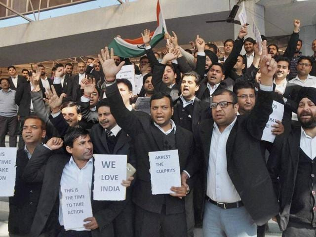 Lawyers protest against incidents of alleged anti-national activities at JNU on Thursday.